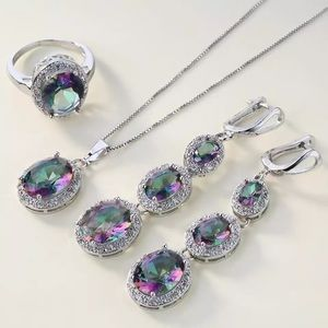 925 sterling silver multicolor jewelry set